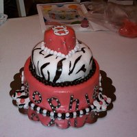 Sophia's 8Th Birthday Zebra Bling Cake   This was first attempt at working with fondant. I'm hooked! This was for my daughter's birthday.