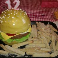 Burger Cake Vanilla and chocolate burger cake, with sugar cookie fries. Fondant detail.