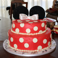 Minnie Mouse Themed Birthday Cake My first tired cake. I made this for my sisters 21st birthday. It was a fictional character themed party and she dressed as Minnie so i...