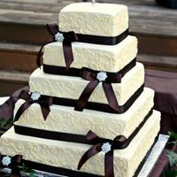Square Fall Theme Wedding Cake Square fall theme wedding cake