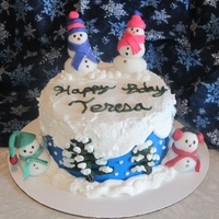 Winter Wonderland Birthday   Had a blast making this cake for a friend! Everything is buttercream frosting, except the snowmen which are fondant