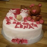 Baby Shower Cake With Teddy, Shoes And Pacifier. Inspired By Bettina Schliephake-Burchardt