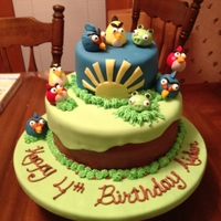 Angry Birds Birthday Cake This is a cake that I made for my friend's sons birthday. The bottom tier is chocolate fudge cake and chocolate buttercream. This was...