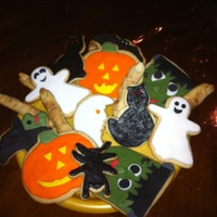 Halloween Cookies Vanilla sugar cookies covered with fondant