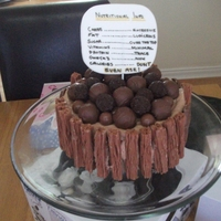 Chocolate Overload This is a madeira cake with creamcheese chocolate buttercream and loads of chocs :) The tag is made from fondant and edible pens. I made it...