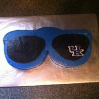 University Of Kentucky Sunglasses  This cake was made for a friends birthday who has a pair of lucky UK glasses he wears to every game.The cake was a WASC with cheesecake...