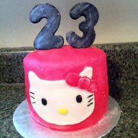 Hello Kitty Hello Kitty cake for a 23-year-olds birthday. Vanilla cake with vanilla buttercream, covered in marshmallow fondant. Hello Kitty is...