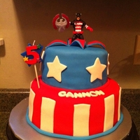 Captain America Captain America cake for my 5 year old son. Bottom tier is strawberry cake with chocolate buttercream. Top tier is Vanilla cake with...
