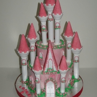 Princess Castle Cake using wilton castle kit which was hell to work with unfortunately i had to drill holes in the bottom of the tower to secure with skewers or...