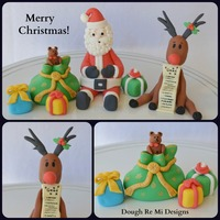 Fondant Santa And Rudolph Cake Topper Set Thanks For Looking And Merry Christmas   Fondant Santa and Rudolph cake topper set. Thanks for looking and Merry Christmas!!!