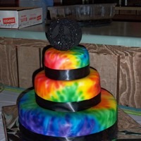 Tie Dye Birthday Cake I made this cake for a friend's daughter's 13th birthday. This was my very first time working with an airbrush!! :):)