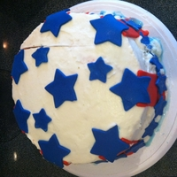4Th Of July Icecream Cake   Red and blue dyed cake with vanilla icecream as the white