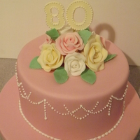 80Th Pastel Birthday Cake