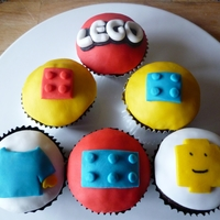 Lego Birthday Cupcakes Lego Themed birthday cupcakes for my husband.