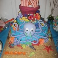 "Owen's Under The Sea Birthday Cake  This was my very first ""over the top"" cake. My son had a Finding Nemo theme for his second birthday party. The octopus was also..."