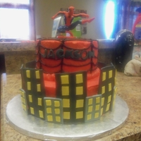 Spiderman Cake I made this cake for my cousin's little boy's birthday. The cakes are frosted in buttercream and the buildings and his name are...