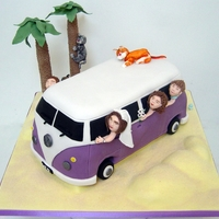 Vw Camper Wedding Cake  Great brief on this one! Bride asked for a purple camper to match the purple of her shoes, their three cats, their two kids and the bride...