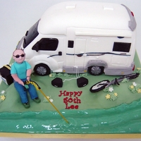 Camper Van Cake   Was asked to do a camper van for a policeman who likes his fishing, bike, glasses and bose speakers!
