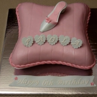 "Pillow Cake For A ""cinderella"" Themed Party This is my first pillow cake as well as my very first high heel shoe."