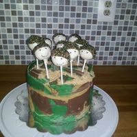 Military Themed Cake For 9 Year Old Bday   my first cake pops, and my first chocolate collar!