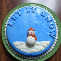 Let It Snow, Let It Snow, Let It Snow Simple white cake with boiled frosting. Covered and decorated with MMF.