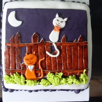 The Kobasiuk's Anniversary Cake Cake was double chocs chocolate cake with strawberry cream cheese buttercream. Covered and decorated with MMF. The couple do have cats with...