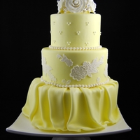 Yellow & White Wedding Cake Yellow & White Wedding Cake with fondant lace