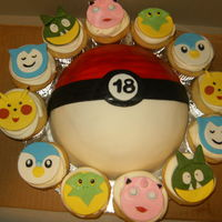 Pokemon Cake With Cupcakes All Gumpastefondant Toppers Made Freehand Without Cutters pokemon cake with cupcakes, all gumpaste/fondant toppers made freehand without cutters
