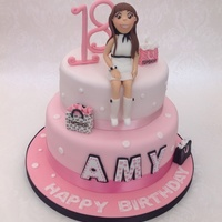 Top Shop 18Th Birthday Cake Two tier vanilla cake with fondant and gumpaste decoration