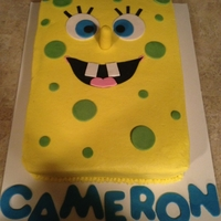 Spongebob Cake   spongebob birthday cake, chocolate fude with fudge filling, buttercream with fondant accents