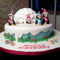 Merry Birthday   Cake for Christmas and December Birthdays at my church. MM igloo, gumpaste figures