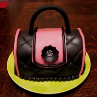 Pink And Black Purse Cake  Hostess gift for a Little Black Dress, Big Pink Drinks party. Invitation was in pink, black and lime green so the cake is on a lime green...