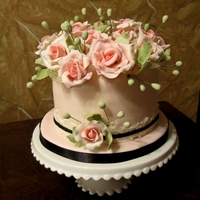 Melanie's Cake Inspired by a Pink Cake Box cake-fondant lace, gumpaste flowers