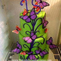 Butterfly Quinceañera Cake Lime green and purple Quince Cake