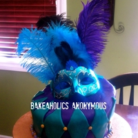 Topsy Turvy Masquerade Quinceanera  Cake , Quince Cake