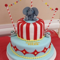 Circus Themed Baby Shower Cake Chocolate and Vanilla covered in Fondant