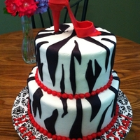 Zebra Cake With Red High Heel Shoe   This was my first attempt at a gumpaste shoe. It was harder than I thought!