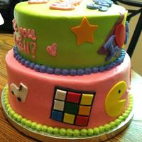 80's Birthday Cake This is a buttercream 2 tier cake with fondant accents for an 80's themed 30th birthday. It was fun to make!