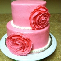 Pink Ribbon Flower Bridal Shower Cake Buttercream covered cake with 50/50 ribbon flowers.