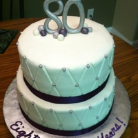 80Th Birthday Cake buttercream with fondant accents