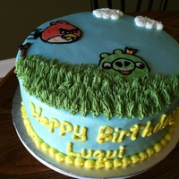 Angry Birds Birthday Cake Buttercream with buttercream transfers