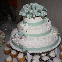 Three-Tier Wedding Cake First attempt at wedding cake EVER! It was a gift for my sistr-in-law. Roses are gumpaste, butterfilies out of royal icing. Frosted in...