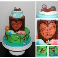 Jungle-Themed Baby Shower Cake Jungle themed baby shower cake. The animals were styled to match the animals in the party decor. I attempted to show the elephants as...