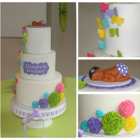 Colorful Butterfly & Pom Pom Baby Shower Cake Inspired by mrsvb78's original design for her recent Rainbow Fun birthday cake. LMF fondant used for entire cake. Cake matched the...