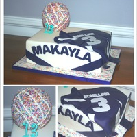 Volleyball Birthday Cake Quarter sheet cake & ball both marble cake with vanilla Swiss meringue buttercream. Quarter sheet covered in fondant, decorations all...
