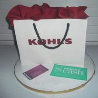 Kohls Gift Bag Cake Fondant covered lemon cake with vanilla swiss meringue buttercream icing.Edible image credit card & Kohl's cash