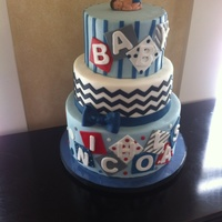 Baby Boy Baby Shower Cake Baby shower cake for a baby boy. Design adapted from a picture of another cake chosen by the mother. All fondant decorations except the...
