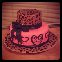 Leopard & Hearts Cake Covered in MMF. Leopard print is handpanted on.