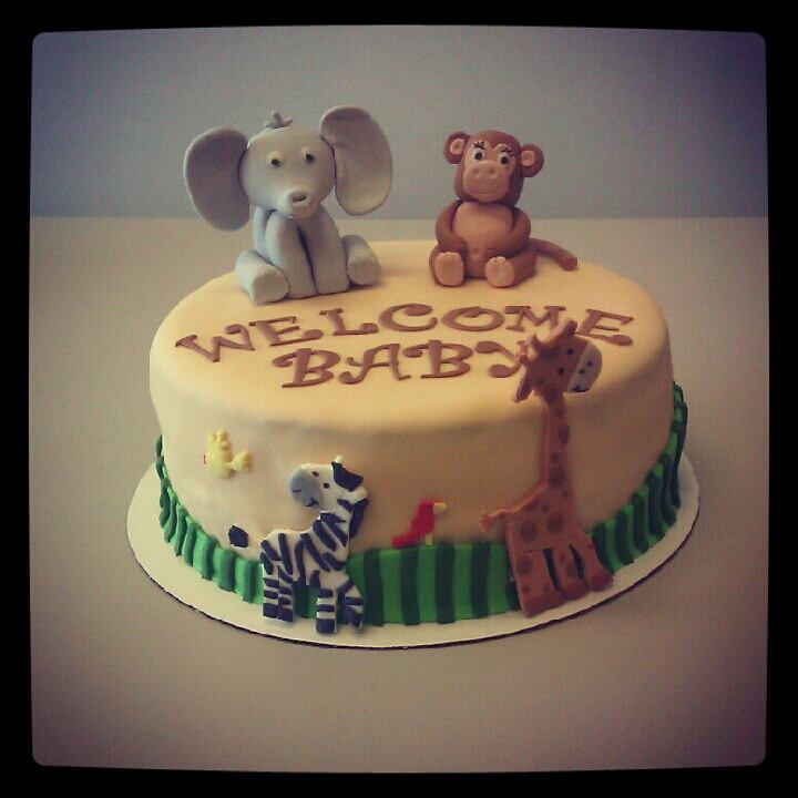 Baby Animal Baby Shower Cake Elephant and Monkey made of gumpaste