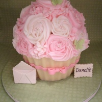 Giant Cupcake Shabby Chic   Birthday Cake for a sweet friend. Cupcake liner is made out of white chocolate.